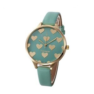 Women's Watch with Heart Design Details Mint Green